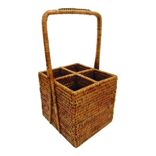 Boho Chic Rattan Tiki Desk Kitchen Organizer