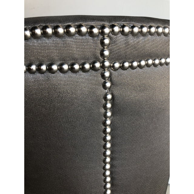 Bernhardt Moire Upholstered Stool With Chrome Nail Heads For Sale - Image 4 of 7
