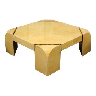 Mid Century Modern Square Goatskin Coffee Table Attr. To Karl Springer 1970s For Sale