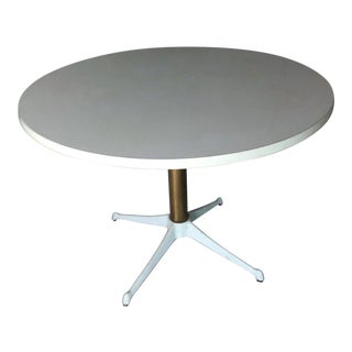 1950s Mid Century Modern Howell White Iron Pedestal Table For Sale