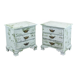 1960's French Provincial 3-Drawers Nightstands, Hand Painted Green and Gray Nightstands - a Pair For Sale