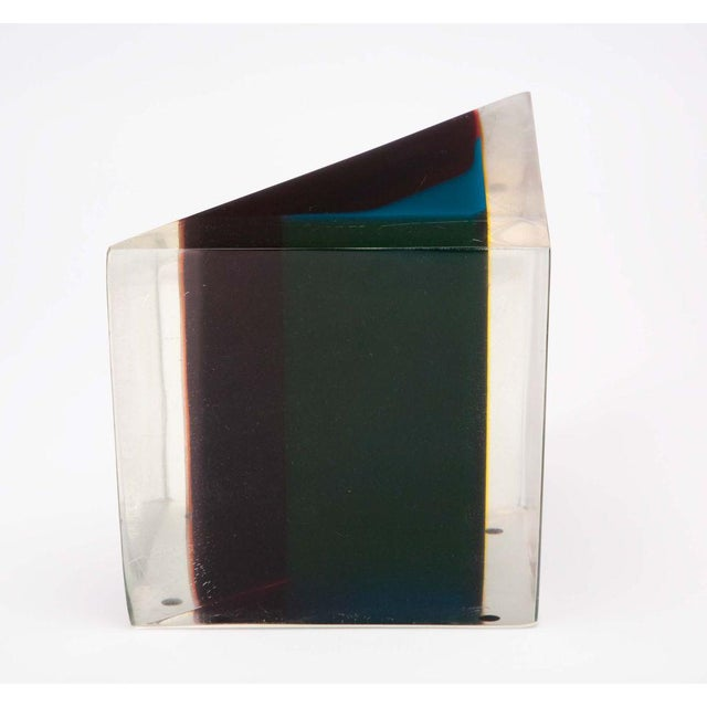 Mid-Century Modern Acrylic Rainbow Triangular Sculpture by Dennis Byng For Sale - Image 3 of 5