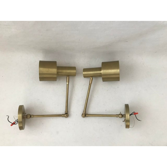 Modern Cedar & Moss Brass Double Articulated Wall Lamps Sconce-A Pair For Sale - Image 12 of 12