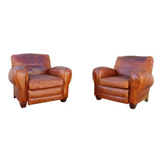 Original Vintage French Art Deco Leather Club Reclining Chairs - a Pair For Sale