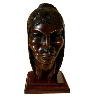 Exotic Indian Art Deco Sculpted Head in Wood by Arias For Sale
