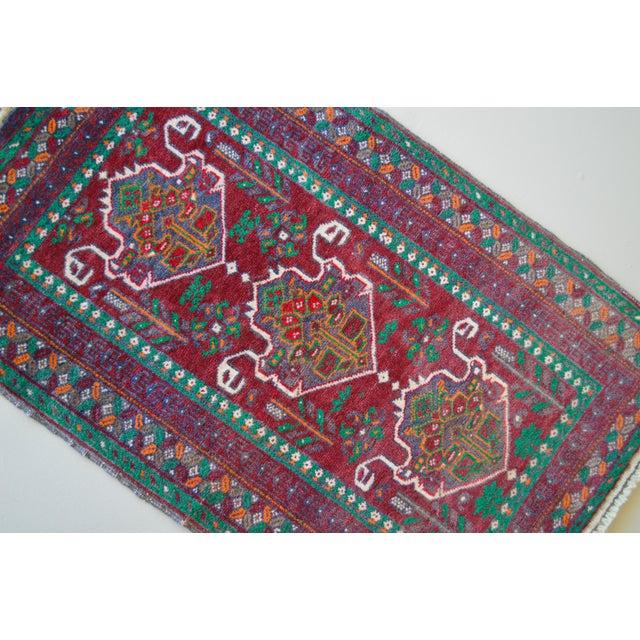 "Hand Knotted Persian Heriz Karajeh Rug - 1'10"" X 2'10"" - Image 3 of 3"
