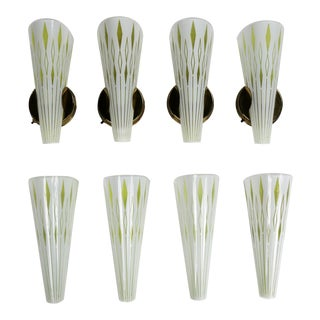 Four Mid Century Modern Curved Glass Wall Sconces White With Harlequin Diamonds For Sale