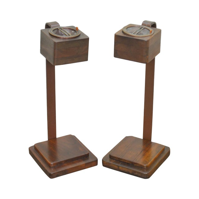 Art Deco Vintage Pair of Mahogany Smoke Stands Possibly Gilbert Rhode For Sale