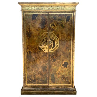 Hollywood Regency Brass Faces Dry Bar With Mirrored Interior For Sale