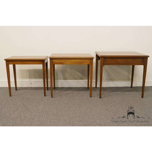 Brown Heritage Solid Ash Italian Neoclassical Nesting End Tables - Set of 3 For Sale - Image 8 of 12