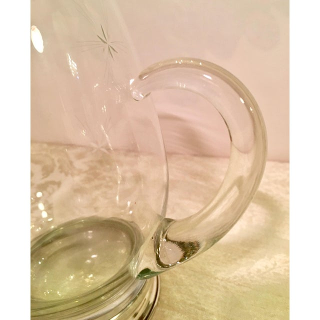 Transparent Glass & Sterling Silver Cocktail Pitcher For Sale - Image 8 of 11
