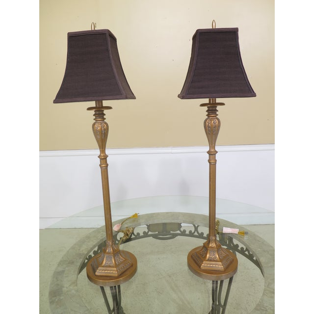 Gold Modern Gold Crackle Finish Metal Table Lamps- A Pair For Sale - Image 8 of 8