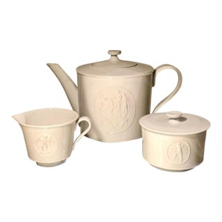 Blanc De Chine Kpm Royal Berlin, Arcadia Porcelain Teapot Sugar & Creamer Tea Set For Sale
