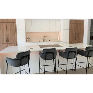 Contemporary Charcoal Velvet Bar Stools - Set of 4 Preview