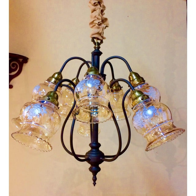 10-Arm Glass Shade Chandelier - Image 2 of 5