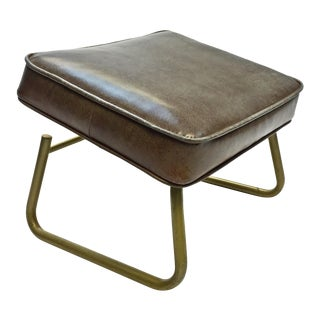 Mid Century Modern Adjustable Leg Lounger Vinyl Foot Rest
