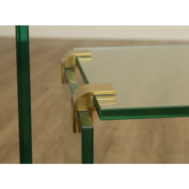 Metal Mid Century Modern Floating Glass & Brass Set 2 Nesting Tables For Sale - Image 7 of 13