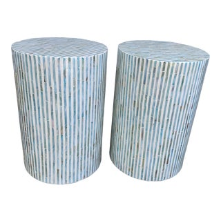 Pair of Aqua and Off White Shell Inlay Drum Tables For Sale
