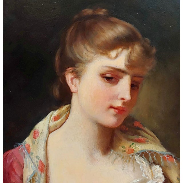 """19th Century 19th Century Gustave Jean Jacquet """"Portrait of an Elegant Young Lady"""" Oil Painting For Sale - Image 5 of 11"""