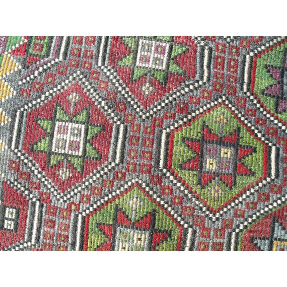 "Vintage Handwoven Turkish Kilim Rug - 6' 4""x8' 9"" - Image 6 of 6"