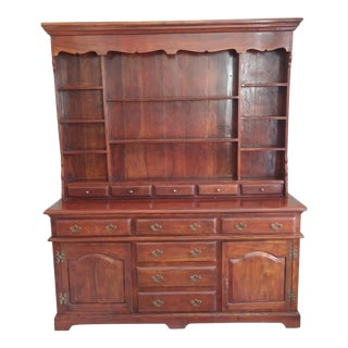 Traditional Theodore Alexander Solid Walnut Open China Cabinet For Sale