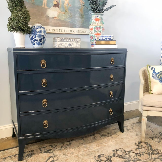 Blue 1960s Vintage Navy High Gloss Lacquer Dresser For Sale - Image 8 of 10