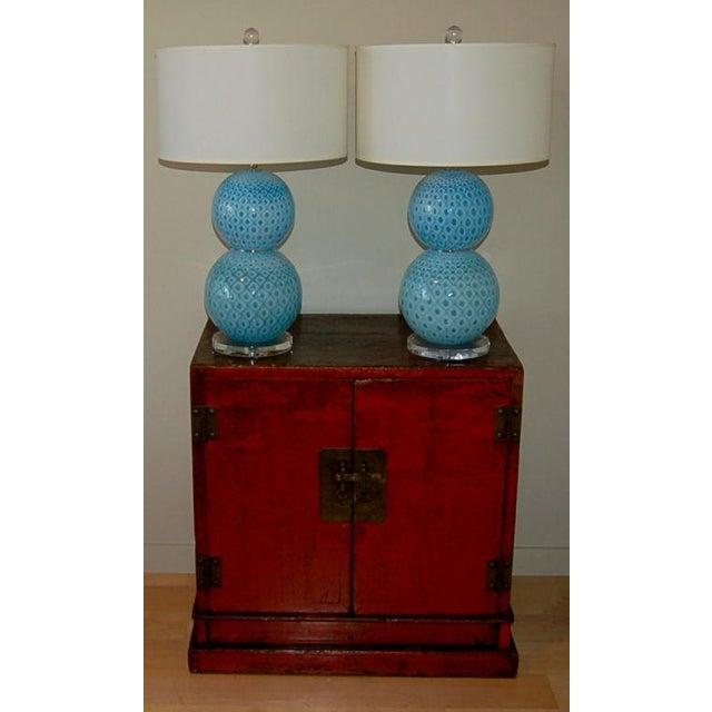 Galliano Ferro Galliano Ferro Vintage Murano Glass Table Lamps Blue For Sale - Image 4 of 11