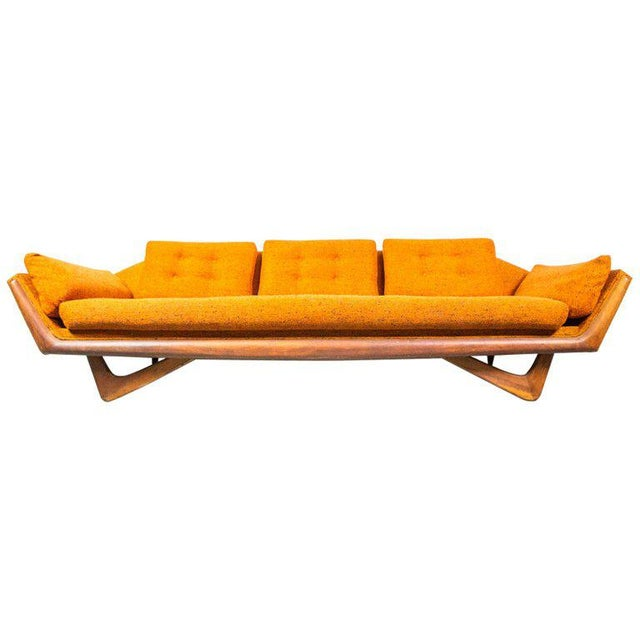 """Orange """"Gondola"""" Sofa by Adrian Pearsall for Craft Associates For Sale - Image 8 of 8"""