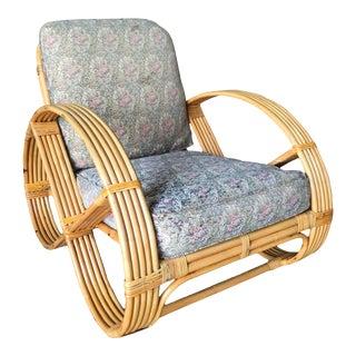 1950s Restored Vintage Five-Strand Round Full Pretzel Rattan Lounge Chair For Sale