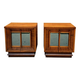 Wood Mirrored Nightstands - A Pair