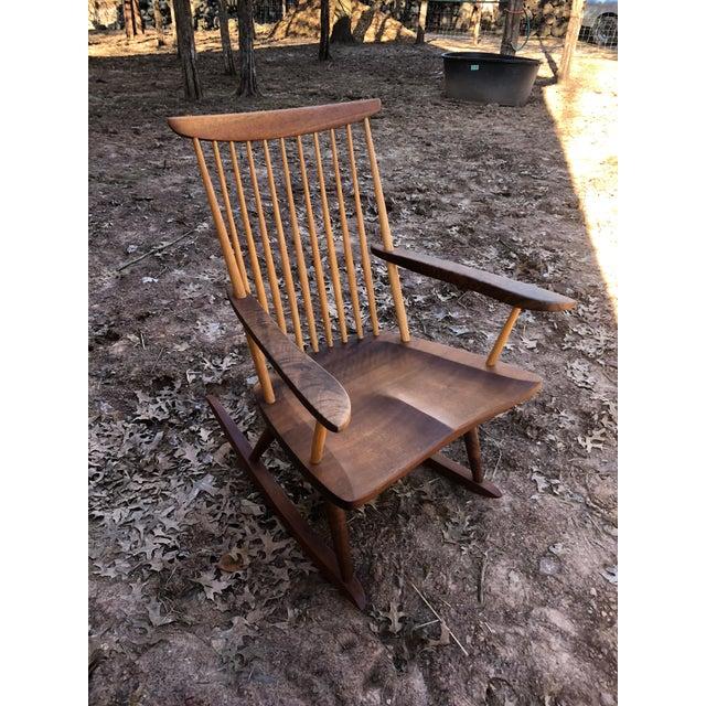 Modern Nakashima Studio Mixed Wood Lounge Rocking Chair For Sale - Image 11 of 13