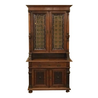 Antique Belgium Carved Mechelen Style Walnut and Stain Glass Doors Bookcase For Sale