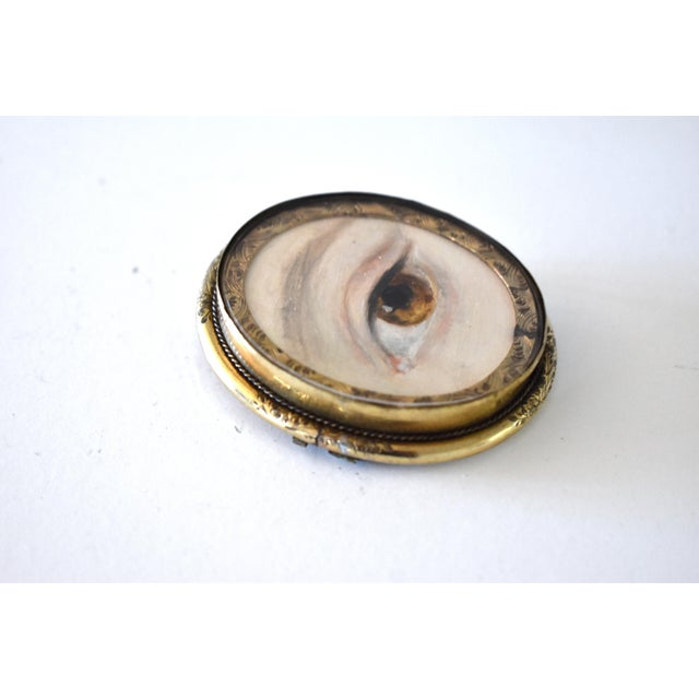 2010s Contemporary Lover's Eye Painting by S. Carson in a Victorian Brooch For Sale - Image 5 of 9