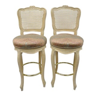 Vintage French Country Louis XV Style Cane Back Swivel Bar Stools - a Pair