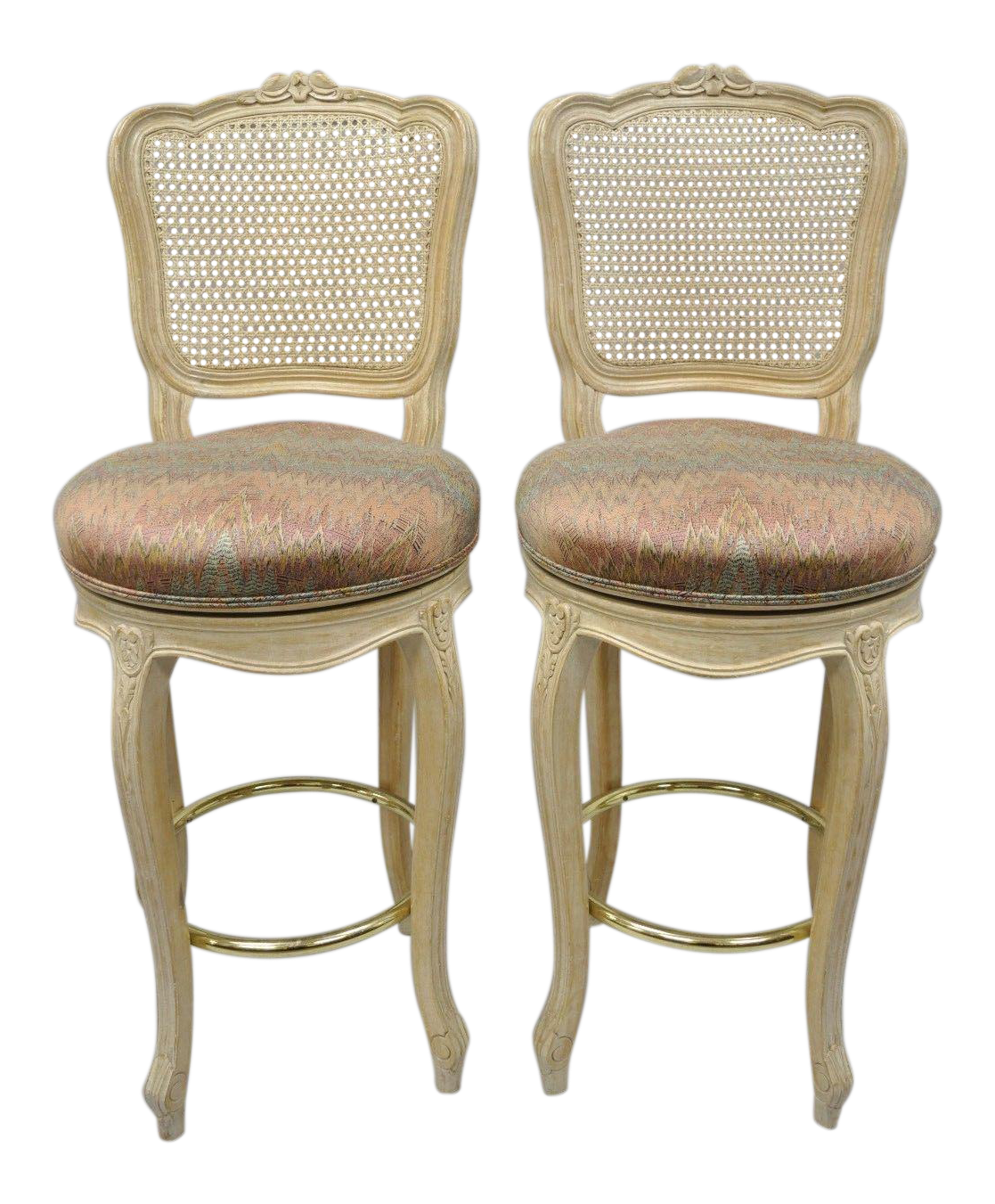 Vintage French Country Louis Xv Style Cane Back Swivel Bar Stools A Pair Chairish