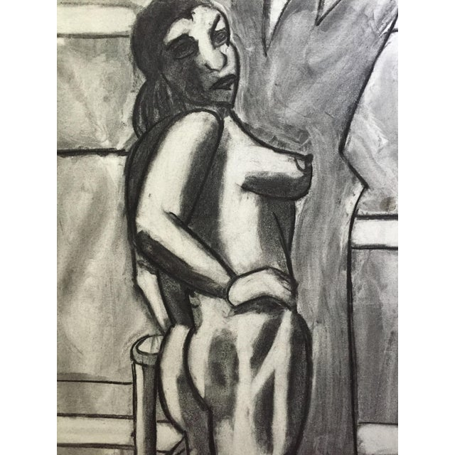1950s 1950s Charcoal Drawing Bay Area Artist Female Nude For Sale - Image 5 of 7