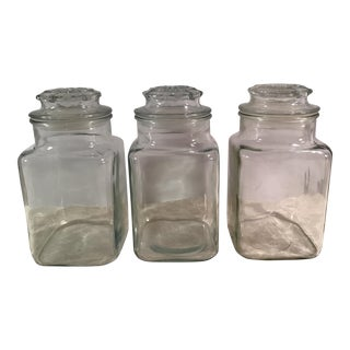 Vintage Square Glass Canisters - Set of 3