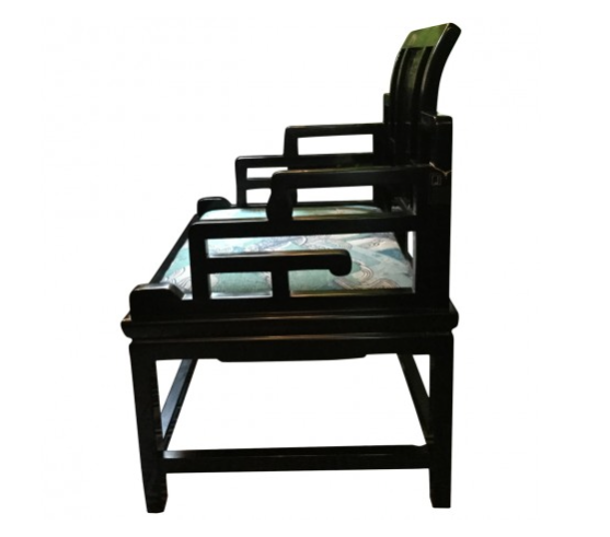 Black Accent Chair With Lacquer Finish With Seat Cushion. Asian Asian  Inspired Extra Wide ...