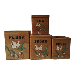 1950s Americana Wood Cannister - Set of Four For Sale