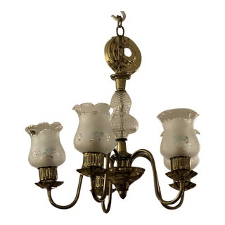 Mid-20th Century 5-Light Floral Shades + Brass Finish Chandelier For Sale