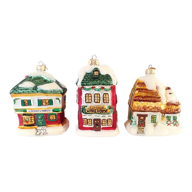 Scrooge Story Cottage Ornaments - Set of 3 - Image 1 of 3