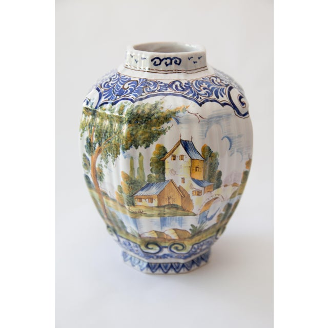 Pottery & Glass Antique 19th Pottery Delft Blue And White Double Handle Vase Wide Selection;