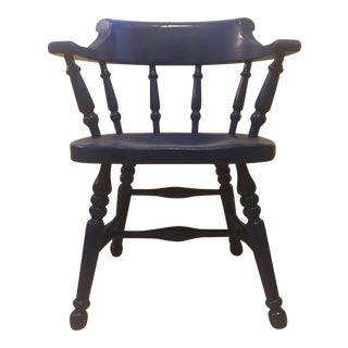 Vintage Lacquer Blue Wooden Captain's Chair