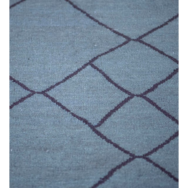 Blue Contemporary Blue Handwoven Wool Moroccan Inspired Flatweave Rug For Sale - Image 8 of 10