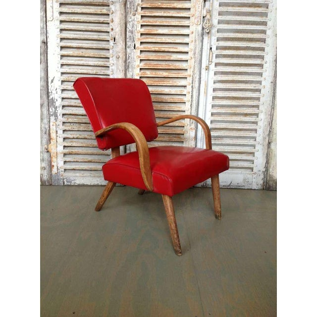 American 1950s Red Vinyl Armchair - Image 2 of 8