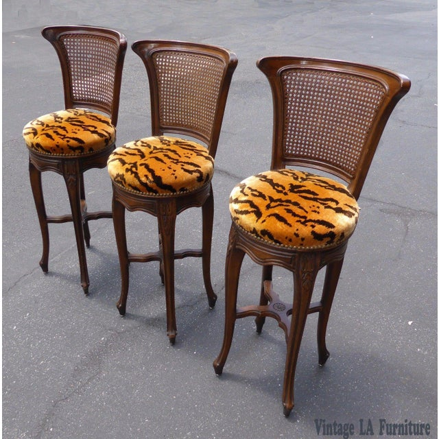 Vintage French Country Wood & Cane Barstools - Set of 3 - Image 3 of 11