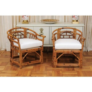 An Exquisite Pair of Horseshoe Back Rattan Club Chairs by McGuire, Circa 1975 Preview