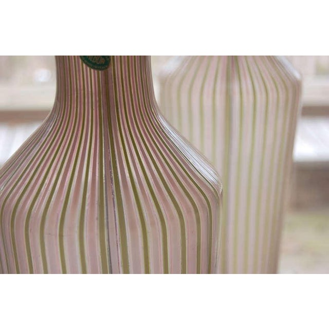 Hollywood Regency Dino Martens Murano Glass Table Lamps Pink Green Stripes For Sale - Image 3 of 8