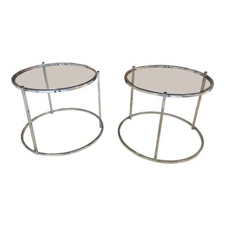 Vintage Glass & Chrome Stacking Tables - A Pair For Sale