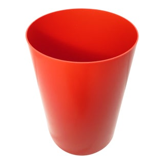 Mid 20th Century Red Kartell Plastic Waste Basket Garbage Can For Sale